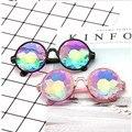 Круглый очки-калейдоскопы Rave фестиваль для мужчин женщин брендовая Дизайнерская обувь голографическая калейдоскоп Женский Мужской солнцезащитные - фото