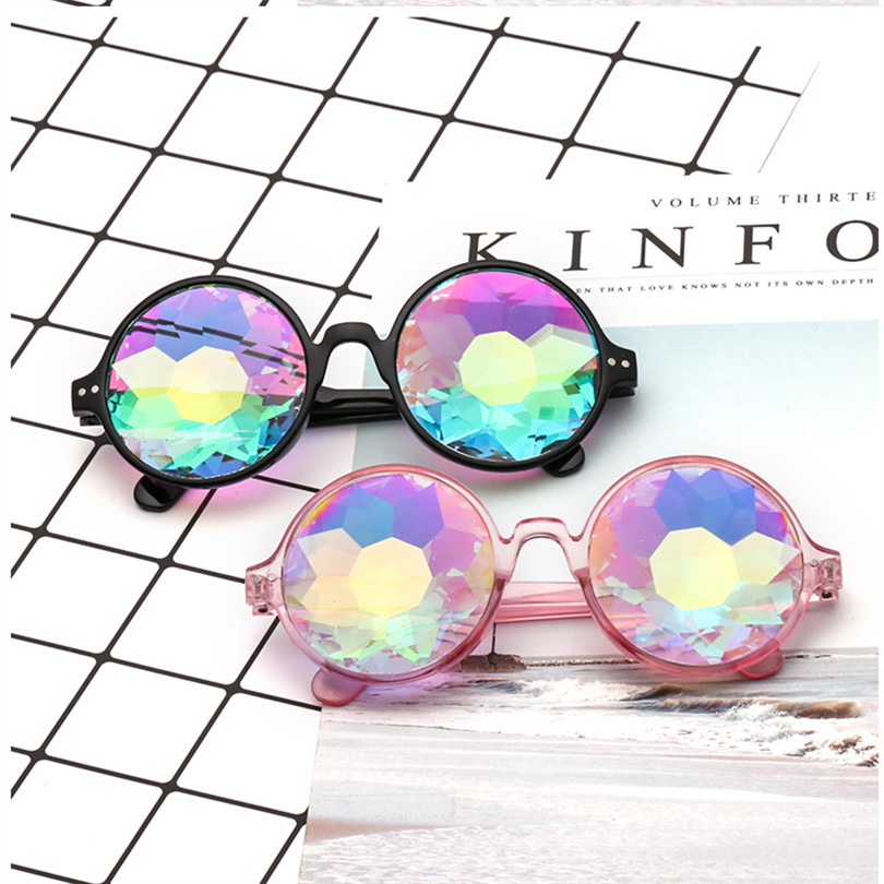 Round Kaleidoscope Glasses Rave Festival Men Women Brand Designer Holographic Kaleidoscope Female Male Sunglasses Retro