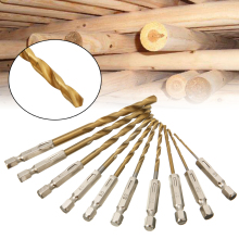 10pcs High Speed Steel Titanium Twist Drill Bit Set Length 25mm-60mm Cordless Screwdriver Hexagonal Shank