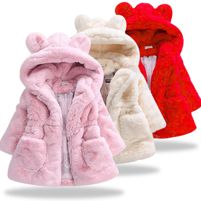 Winter Girls Faux Fur   Coat   2018 New Fleece Warm Pageant Party Warm Jacket Snowsuit 2-7Yrs Baby Hooded Outerwear Kids Clothes