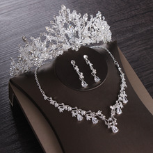 Necklace-Set Earring Tiaras Bridal-Jewelry-Sets Crown Crystal Wedding-Cubic-Zircon African Beads