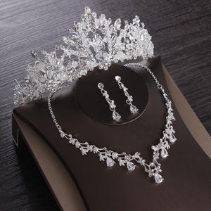 Necklace-Set Earring Tiaras Bridal-Jewelry-Sets Choker Crown Crystal Wedding-Cubic-Zircon