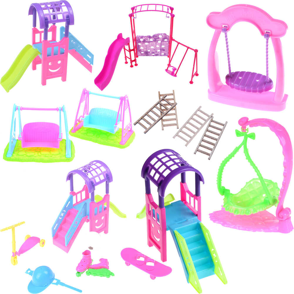 Girl Play House Doll Amusement Park For Doll Slide Amusement Park Slide Swing Accessories Doll Swing Toy Accessories