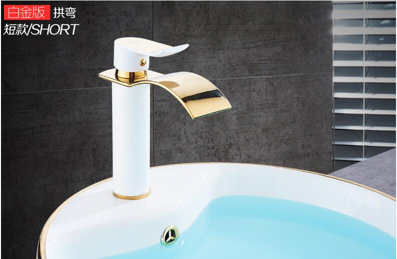 HTB1fCIaX8mWBuNkSndVq6AsApXaC Basin Faucet Gold and white Waterfall Faucet Brass Bathroom Faucet Bathroom Basin Faucet Mixer Tap Hot and Cold Sink faucet
