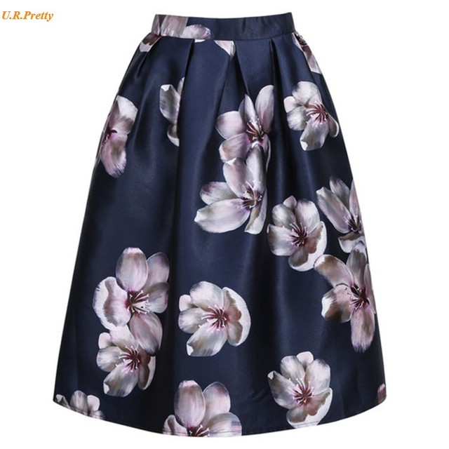 45d63fd4788 Plus Size Women Skirt New Fashion 2017 Spring Summer Vintage Style Floral  Printed Ball Gown Pleat Midi Skirt Ladies Skirt