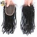 7a pelo rizado rizado lace closure nudos blanqueados cierre 4x4 pelo brasileño de la virgen lace closure cabello humano gratuito oriente 3 parte