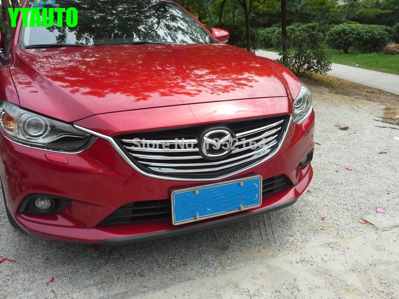 Chrome front grille trim auto grille decoration cover for Mazda 6 atenza 2014 2015 ABS chrome