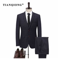 TIAN QIONG New Male Tailor made Suit Set Groom Wedding Dress Suits Mens Gray Plaid Three Piece Sets Jacket with Vest with Pants