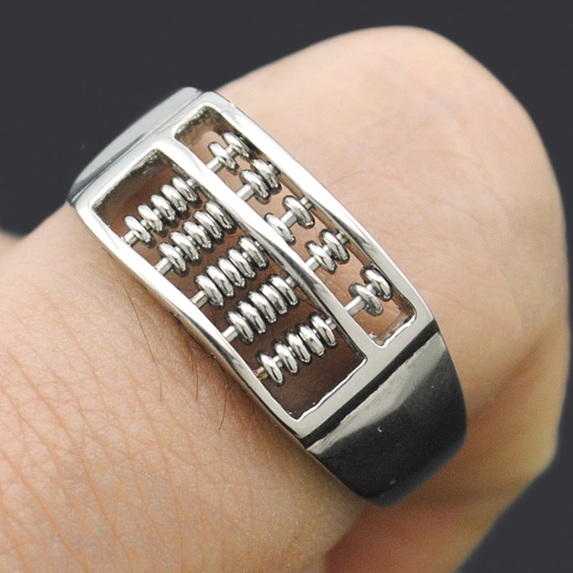 ATGO Fashion Abacus Ring For Men Women High Quality Maths Number Jewelry Stainless Steel Charm Gift BR563