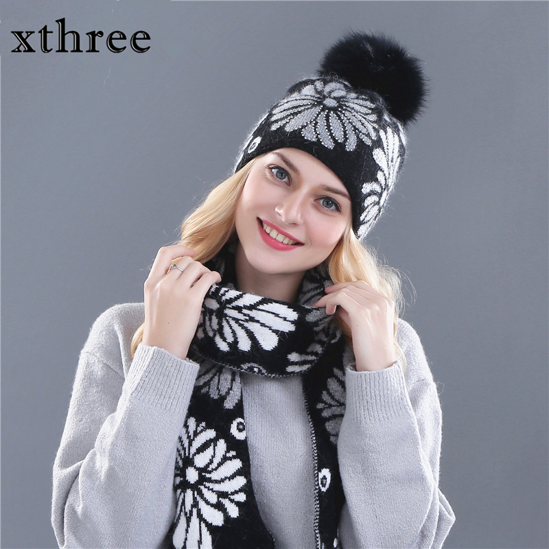 Xthree women's winter hat scarf  for girl beanie wool Knitted hat and - Apparel Accessories