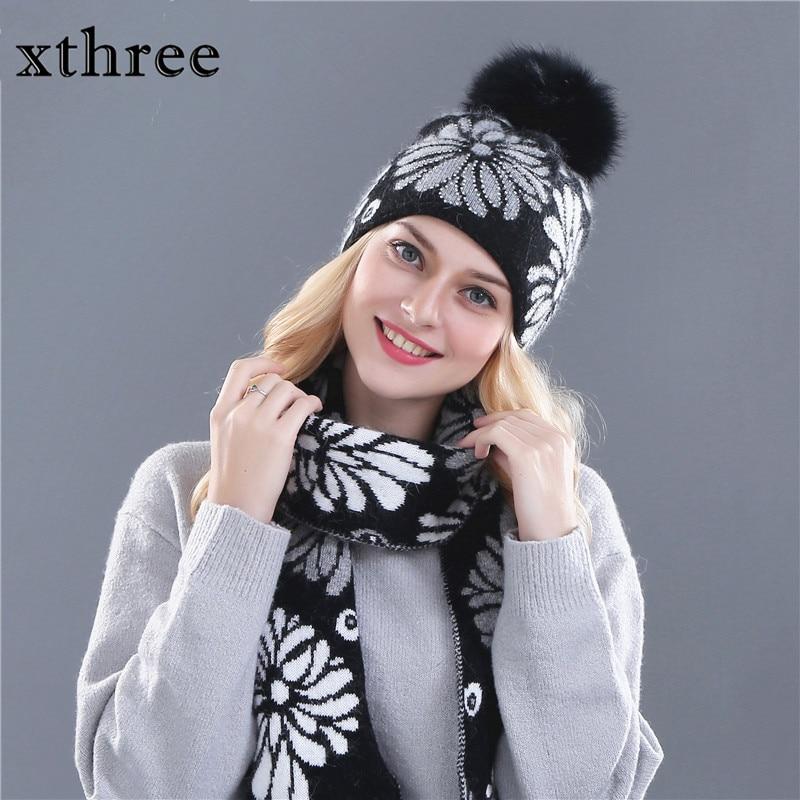 Xthree dámská zimní čepice šála pro dívčí čepičku vlněná pletená čepice a 15 cm pravá kožešinová pom pom