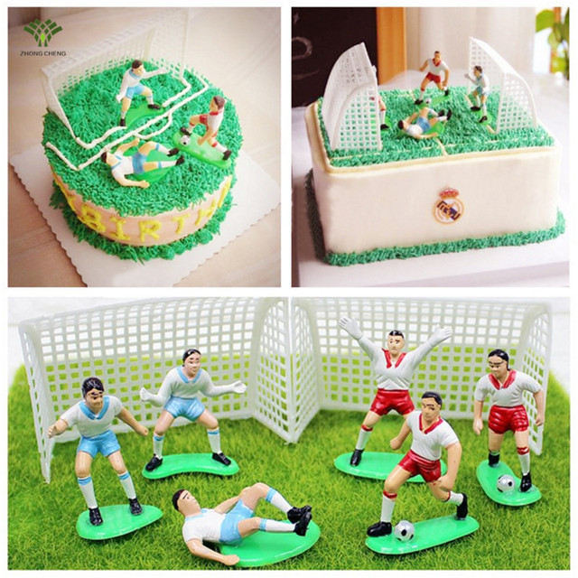 8PCSset Cake Topper Soccer Football Player Birthday Cake Decoration