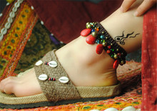 women anklet 2016 new accessories DIY weave red turquoise bell retro foot rope jewelry wholesale bracelet cheville gift T007