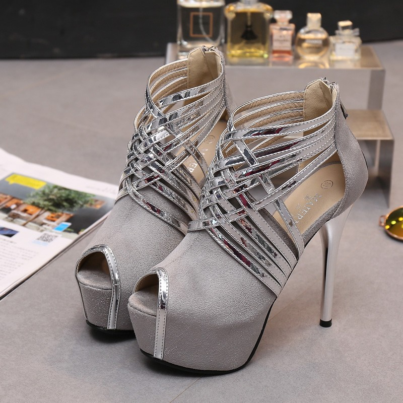 Big Size 34-44 Sexy Platform Lady's Open Toe Shoes 14cm Stiletto Heel Women Stage Prom Shoes Thin Heel Party/wedding Sandals 2