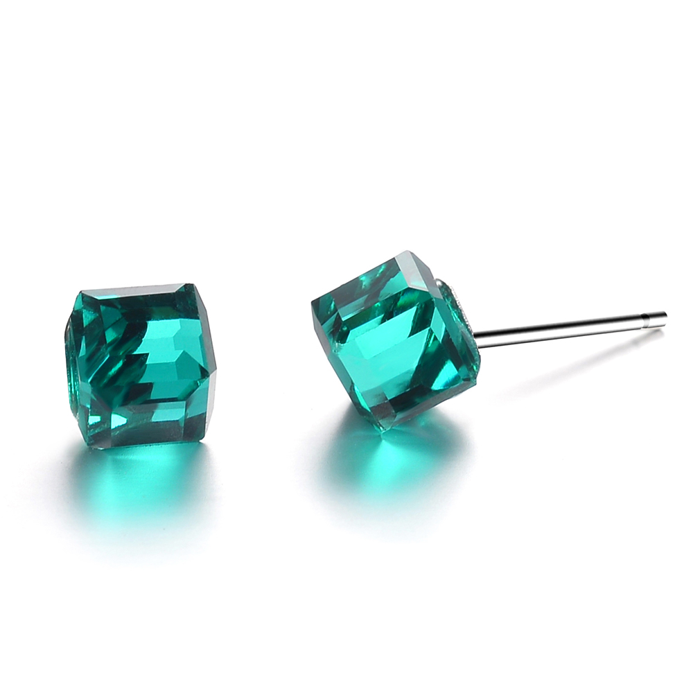 Josbores New Simple Color Square Crystal Stud Earrings For Women Silver Color Cute Little Ear Cuff Earrings Girls Party Jewelry