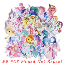 33Pcs Colorful Mixed Unicorn Cute Cartoon Dream Anime Kids Toy Stickers For DIY Laptop Phone Luggage Skateboard Bedroom Sticker a0023 superman logo dream anime kids recognition toy stickers for diy car laptop skateboard pad bicycle ps4 phone decal trunk