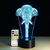 Elephant 3D Illusion Kids Sleeping Atmosphere Light Colorful LED Lamp Baby Toy Birthday Holiday Gift USB