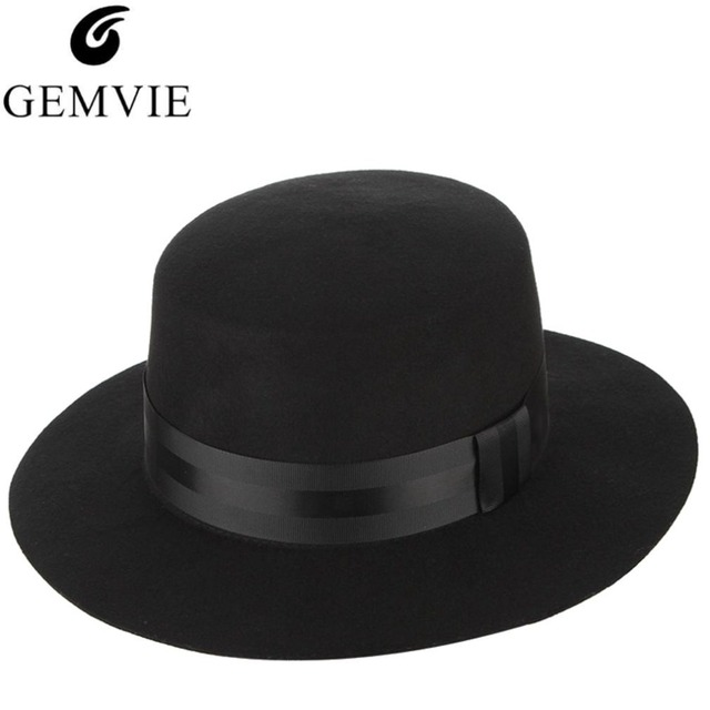 c92e0b3a2b47c Vintage Men Wool Fedora Hats Black Flat Bowler Boater Church Hat Male Jazz  Cap Panama Hat