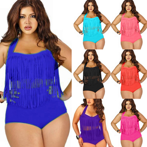 large size Fringed sexy swimsuit woman Plus Size solid high waist tassel swimwear fat Increase bathing suit women L-3X(China)