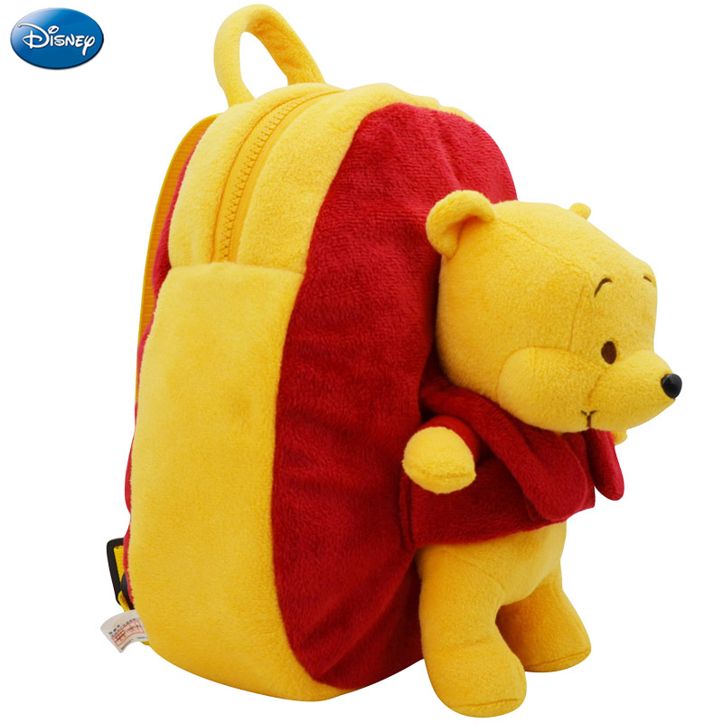 Genuine Disney Backpack Plush Cotton Stuffed Doll Winnie 27cm The Pooh Kawaii Kindergarten Schoolbag Christmas Gift Toy For Kid disney baby winnie the pooh mickey mouse minnie doll baby boys girls stuffed birthday christmas gift for children plush toys