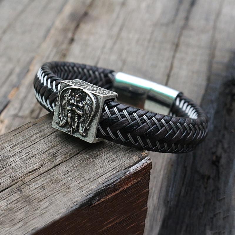 Black Genuine Leather Bracelet for men,Leather Braid Bracelet, Gift for him, Bracelet with stainless steel Magnetic Buckle Clasp