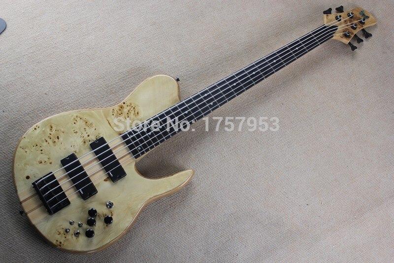 Фабрика Custom Shop 100% Новый Бабочка логотип с активной пикап комплект шеи 5 строка электрическая бас гитара естественного Капа узор 115