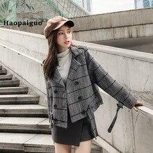 Plus Size Autumn Winter Women Coats Black Khaki Plaid Turn-down Collar Woollen Vintage Casual Hepburn Coat Club Outwear