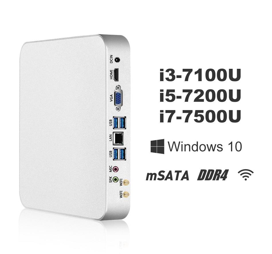 Мини-ПК i7 7500U i5 7200U i3 7100U Windows 10 8 ГБ DDR4 240 ГБ SSD 4 К UHD игр PC HTPC HDMI VGA 300 м Wi-Fi Gigabit Ethernet