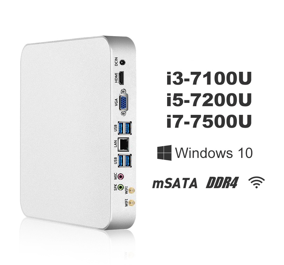 Mini PC i7 7500U i5 7200U i3 7100U Finestre 10 8 gb DDR4 240 gb SSD DA 4 k UHD Gaming PC HTPC HDMI VGA 300 m WiFi Gigabit Ethernet