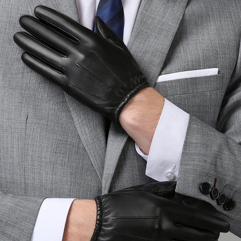 Image 3 - Genuine Leather Men Gloves Autumn Winter Plus Velvet Fashion Trend Elegant Male Leather Glove For Driving NM792B-in Men's Gloves from Apparel Accessories on AliExpress