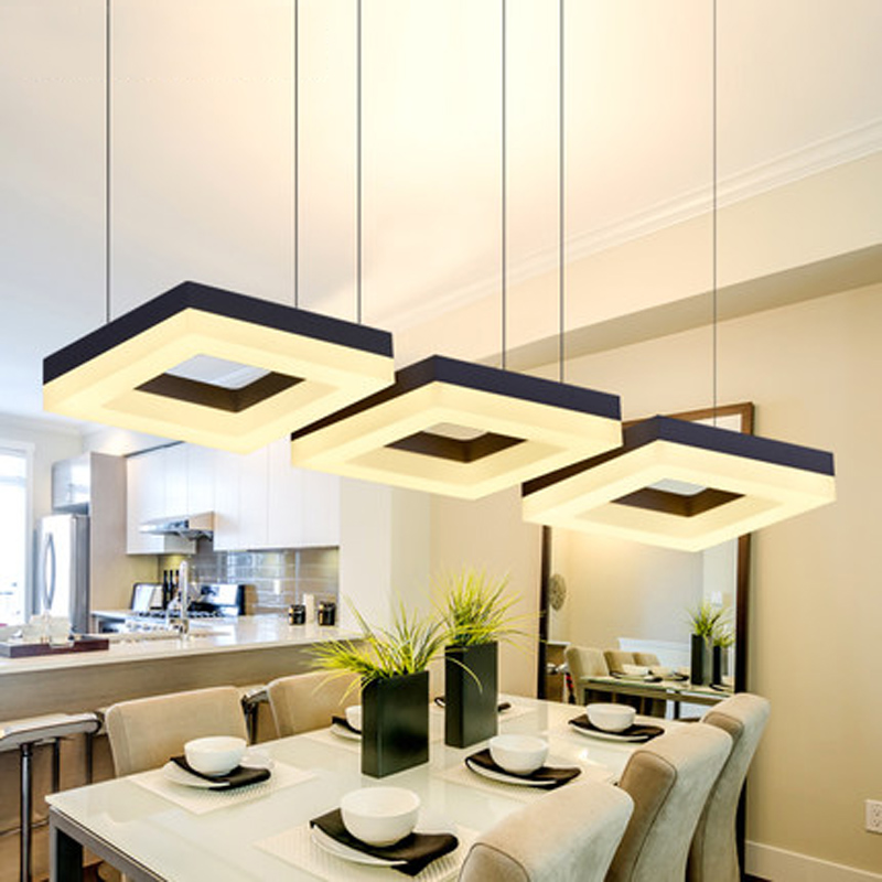 Fashion Rectangle Ring Pendant Lamp Led Dining Room Suspendu Restaurant Living Long