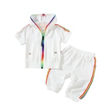 Baby Children Sets Cotton Casual Two-Piece Summer Boys Girls Hooded Short-Sleeved + Shorts Suit стоимость