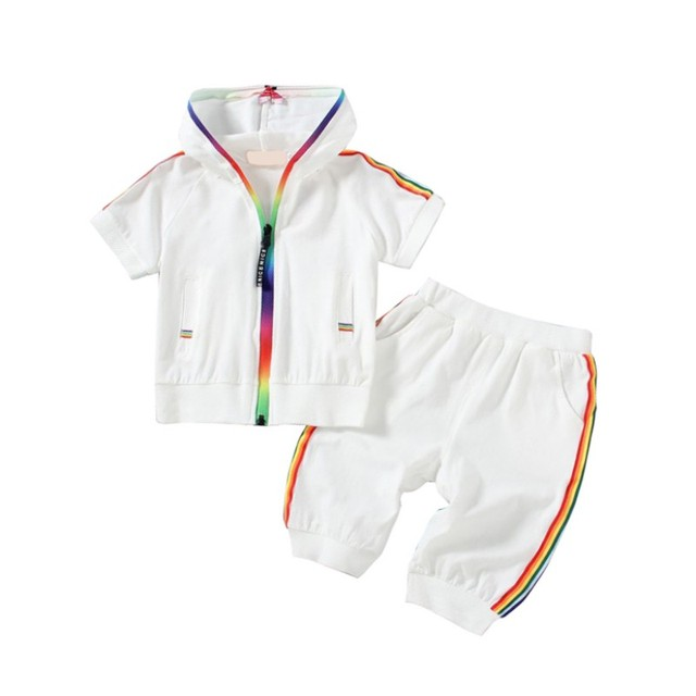 Baby Children Sets Cotton Casual Two-Piece Summer Boys Girls Hooded Short-Sleeved + Shorts Suit