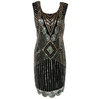 1920 Vintage Women S High Quality Handmade Sequin Sexy Club Dress Female Evening Party Costumes Off