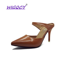цена на Pointed Toe Soft Leather Thin Heels High heels sandals women 2019 summer shoes women British wind Shallow Slip-On female shoes