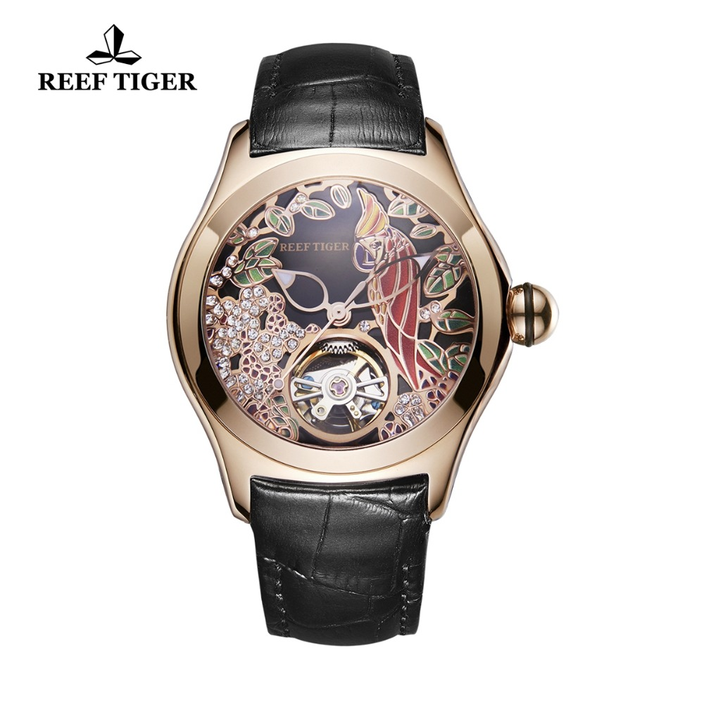 Reef Tiger/RT Top Brand Luxury Women Watches Rose Gold Fashion Watch Automatic Watch Genuine Leather Strap RGA7105 все цены