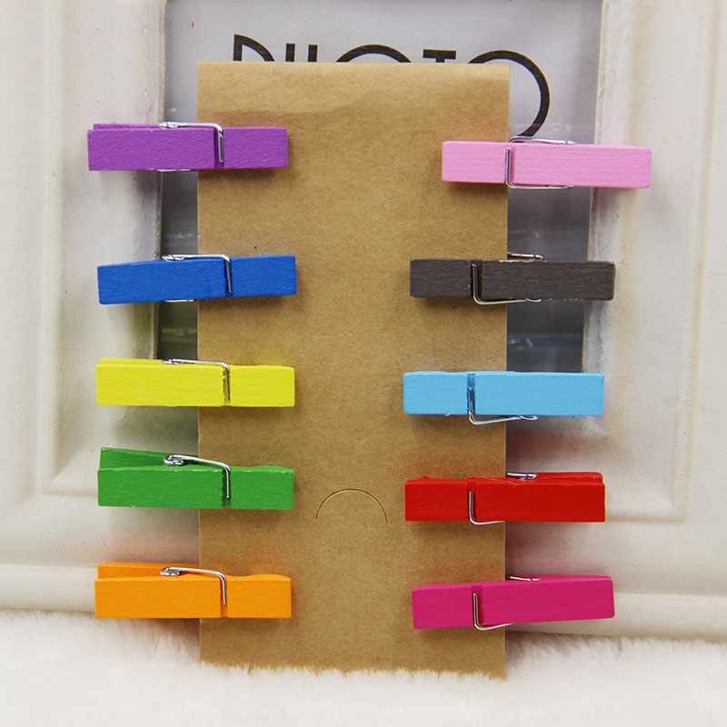 20pcs Random Mini Colored Spring Wood Clips Clothes Photo Paper Peg Pin Clothespin Craft Clips Party Decoration in Clothes Pegs from Home Garden