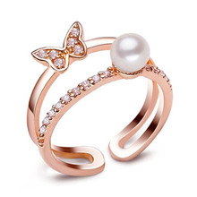 2016 Fashion Pearl Ring Jewelry Of Silver Butterfly Open Ring Freshwater Pearl Wedding Rings 925 Sterling Silver Rings For Women
