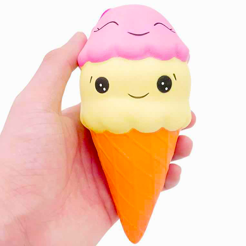 Jumbo Smile Ice Cream Squishy Simulation PU Straps Slow Rising Cream Scented Squeeze Toy Soft Stress Relief Kid Fun Xmas Gift