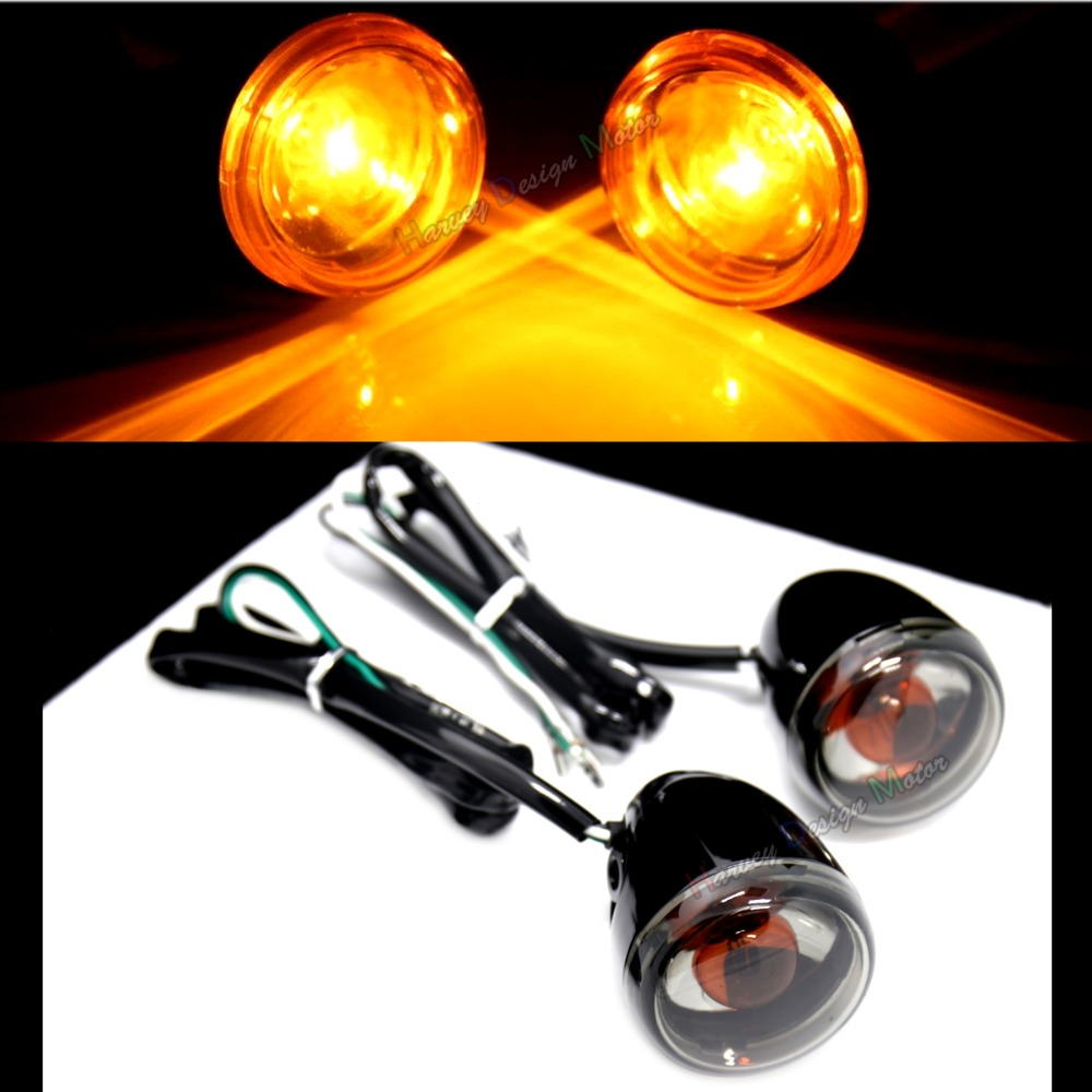 Rear Gloss Black Deuce Bullet Rear Turn Signals For Harley Softail Sportster Dyna 883 1200 Model
