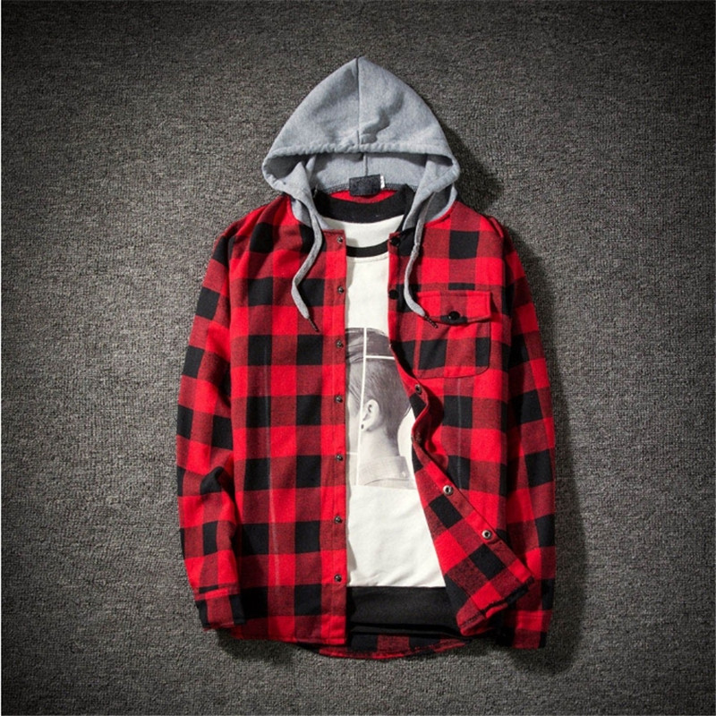 Casual Plaid Shirts Hooded