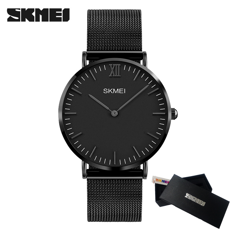цены на Fashion Simple Stylish Luxury brand SKMEI Watches Men Clock Stainless Steel Mesh Strap Thin Dial Clock Man Casual Quartz Watch