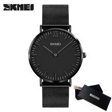 Moda Simples E Elegante De Luxo da marca SKMEI Relógios Homens Relógio de Aço Inoxidável Cinta de Malha Fina Mostrador do Relógio Homem Relógio de Quartzo Ocasional