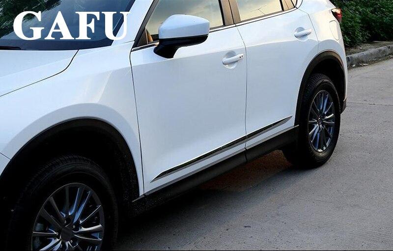Alta qualidade Do Corpo Do Carro cromo Tira de Chinelo Porta Lateral Streamer Moldagem Tampa Guarnição Para Mazda cx-5 cx5 2017 2018 Carro acessórios