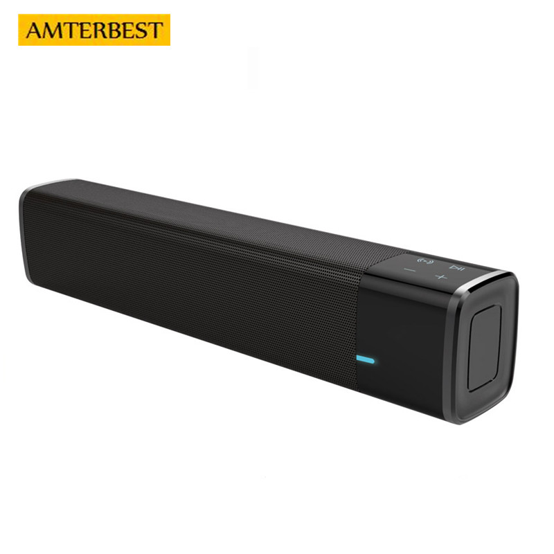 AMTERBEST Portable 20w Wireless Bluetooth Speaker Soundbar Super Bass Stereo Loudspeaker with Touch NFC Speakers for Phone TV wireless multifunctional v4 0 edr bluetooth speaker touch control with nfc function