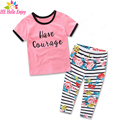 HE Hello Enjoy toddler girls clothing sets summer 2017 fashion kids clothes short sleeves print letter t-shirt+floral pant suits