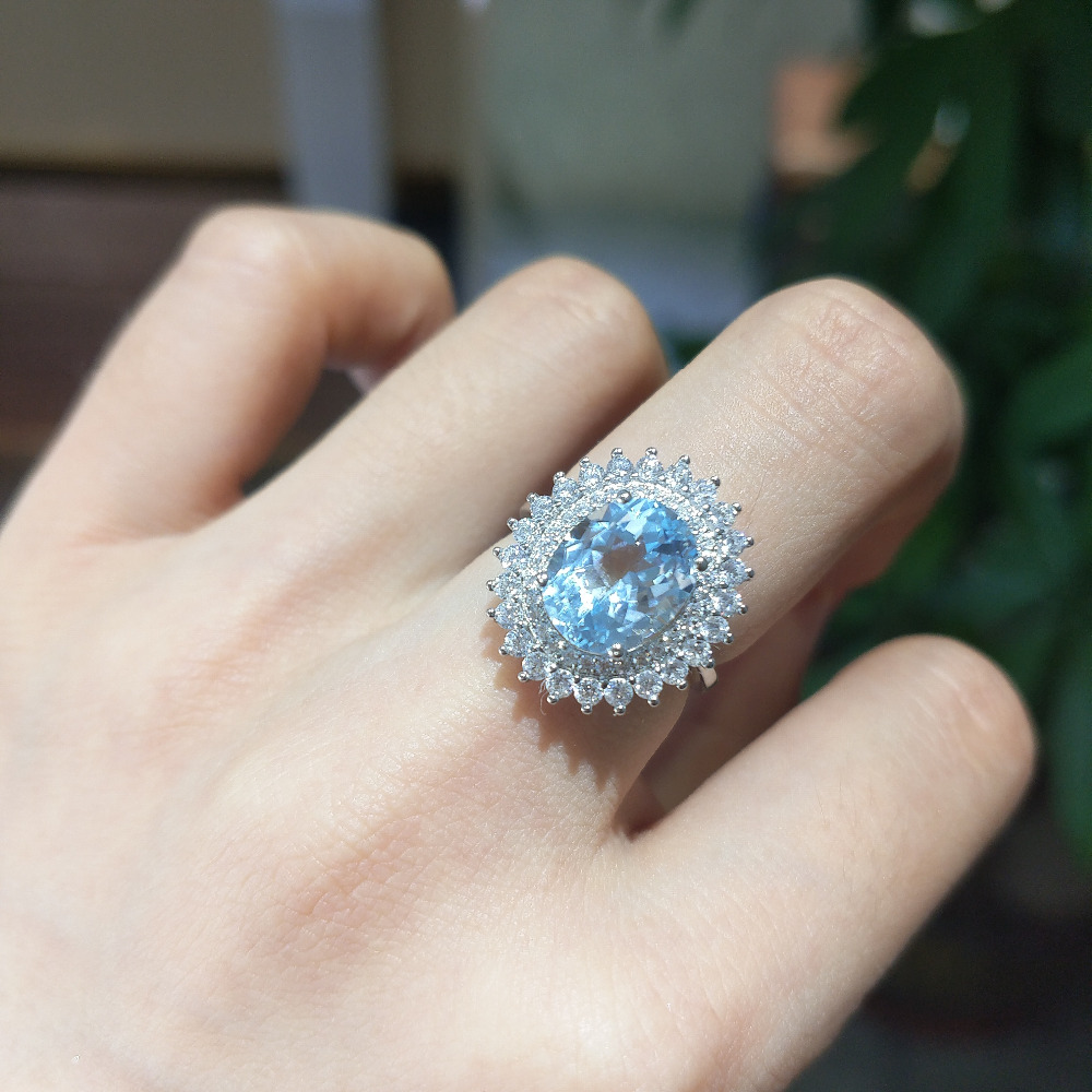 FLZB 925 sterling silver ring with natural sky blue topaz ov 8 10mm with 18k white