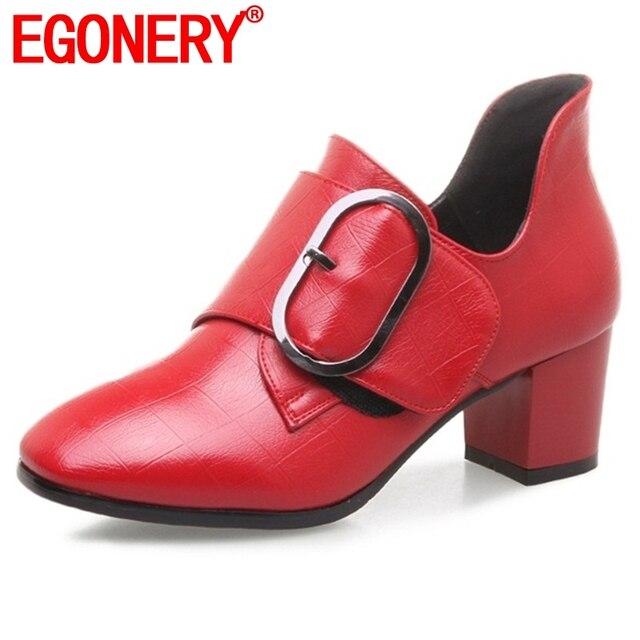 EGONERY punta quadrata office lady carriera primavera solido di modo maturo grande fibbia conveniente nuovo stile rosso nero scarpe da donna