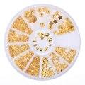 1 Caixa de Decoração de Unhas 3D Gold Star Lua Triângulo Forma Quadrada Projeto Manicure Decoração #8351239