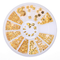 1 Caja de la Decoración Del Clavo 3D Gold Star Luna Triángulo Forma Cuadrada Diseño Manicura de La Decoración #8351239